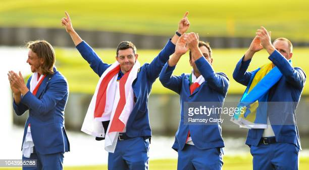 Paris France 30 September 2018 Europe golfers from left Tommy Fleetwood Rory McIlroy Francesco Molinari and Alex Norén after winning the Ryder Cup...