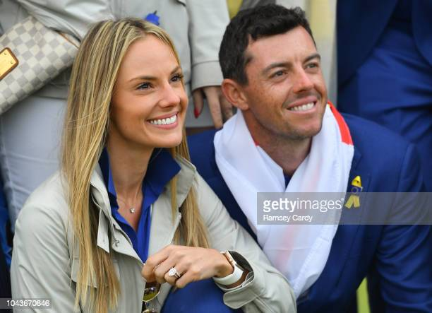 Paris France 30 September 2018 Rory McIlroy of Europe and his wife Erica celebrate after winning the Ryder Cup following the Ryder Cup 2018 Matches...