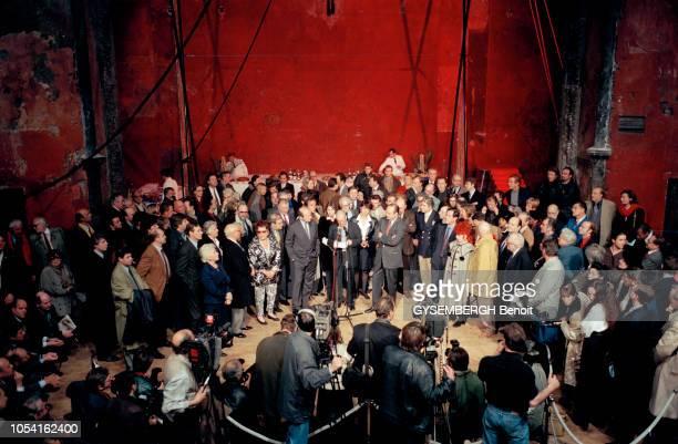 la campagne de Jacques CHIRAC pour les élections présidentielles des 23 avril et 7 mai 1995 Jacques CHIRAC avec les artistes et les intellectuels qui...