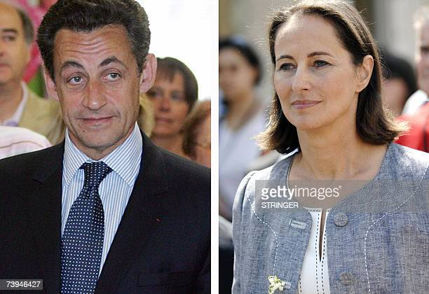 A combo of photos showing French presidential candidates for UMP rightwing party Nicolas Sarkozy and for Socialist Party Segolene Royal after voting...
