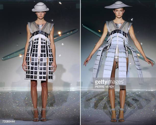 A model presents a creation by Britishbased Turkish Cypriot designer Hussein Chalayan during the Spring/Summer 2007 readytowear collections in Paris...
