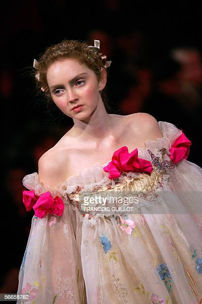 A model presents a creation by French designer Christian Lacroix during the Spring/Summer 2006 Haute Couture collections 24 January 2006 in Paris AFP...