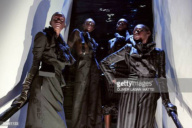 A model presents a creation by Italian designer Riccardo Tisci for Givenchy during the Spring/Summer 2006 Haute Couture collections 24 January 2006...