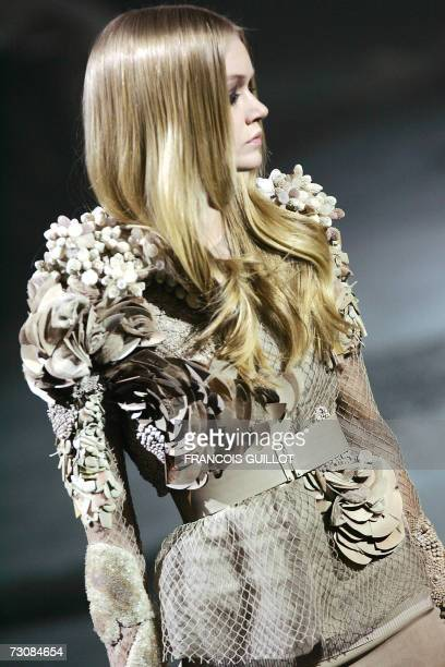 A model presents a creation by Italian designer Riccardo Tisci for Givenchy during the SpringSummer 2007 Haute Couture show in Paris 23 January 2007...