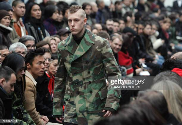 Model presents a creation by Japanese designer Junya Watanabe Man during men's Ready-to-Wear Autumn/Winter 2006-2007 collections presentations in...