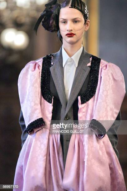 A model presents a creation by Japanese designer Junya Watanabe for Comme des Garcons during the Autumn/Winter 200607 readytowear collections in...