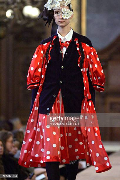 Model presents a creation by Japanese designer Junya Watanabe for Comme des Garcons during the Autumn/Winter 2006-07 ready-to-wear collections in...