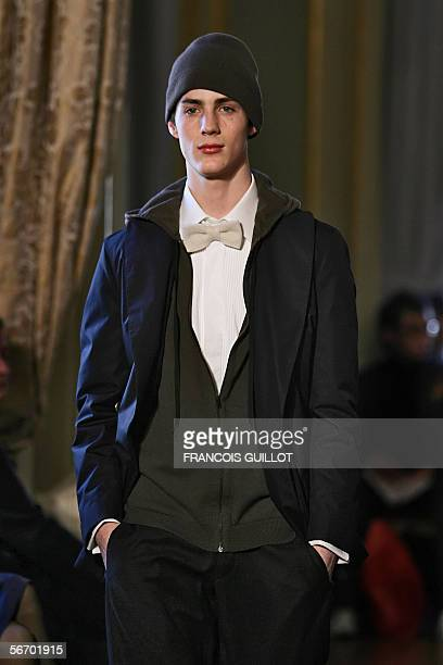 A model presents a creation by Lanvin during men's readytowear Autumn/Winter 20062007 collections presentations in Paris 30 January 2006 AFP PHOTO...