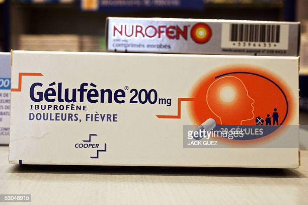 A picture taken 10 June 2005 in Paris of a Gelufene box one of commonly used painkillers medecines based on Ibuprofen an antiinflammatory drug New...