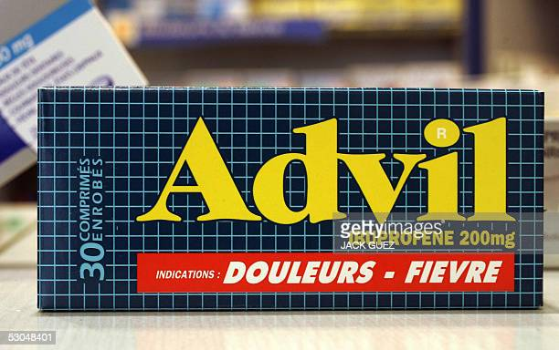 A picture taken 10 June 2005 in Paris of an Advil box one of commonly used painkillers medecines based on Ibuprofen an antiinflammatory drug...