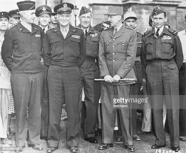 Paris France ALLIED GENERAL MEETS AT THE ARCH DE TRIOMPHE IN PARIS General Dwight D Eisenhower Supreme Allied Expeditionary Force Commander and Lt...