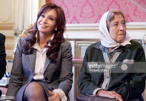 Argentinian Marta VasquezOcampo president of Mothers of the Plaza de Mayo and Argentinian President Nestor Kirchner's wife Senator Cristina Fernandez...