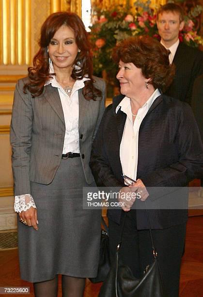 Argentinian President Nestor Kirchner's wife Senator Cristina Fernandez De Kirchner poses with United Nations High Commissioner for Human Rights...