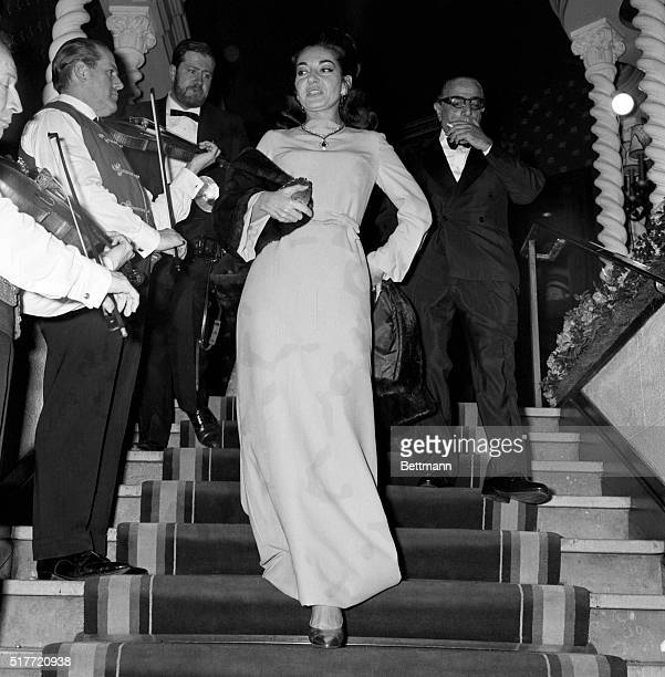 Aristotle Onassis shown with Maria Callas at opening of new play 12/1968