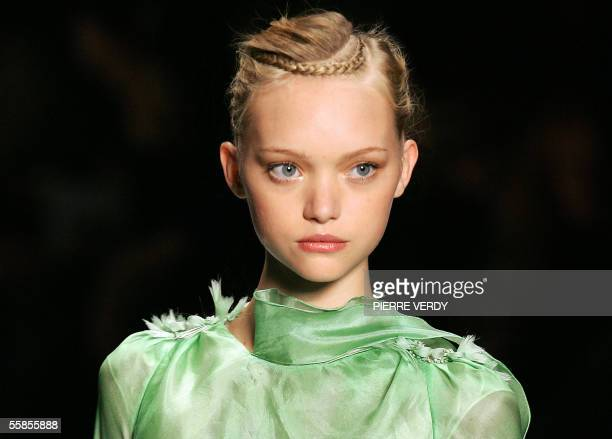 Australian model Gemma Ward presents a creation by French designer Olivier Theyskens for Rochas during the Spring/Summer 2006 ReadytoWear collections...