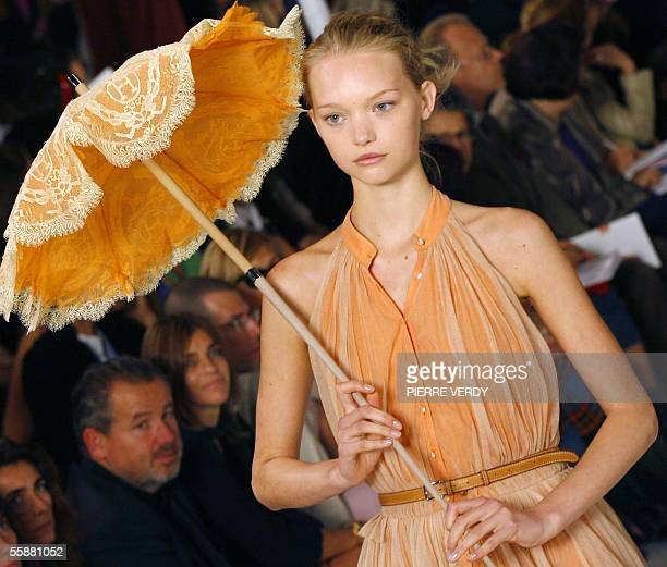 Australian model Gemma Ward presents a creation by French designer JeanPaul Gaultier for Hermes during the Spring/Summer 2006 ReadytoWear collections...