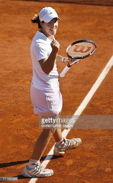 Belgian Justine HeninHardenne jubilates after winning against Belgian Kim Clijsters during the semifinals of the French tennis Open at Roland Garros...