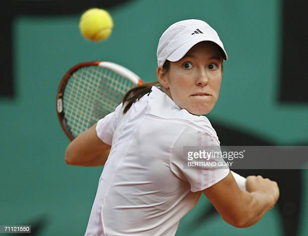 Belgian Justine HeninHardenne prepares to hit a backhand to Russian Anastasia Myskina on the fourth round of the French tennis Open at Roland Garros...