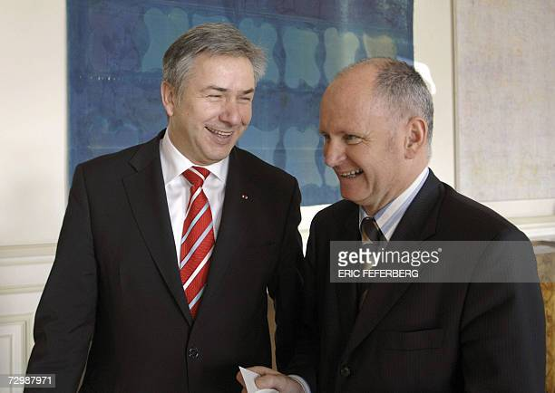 Berlin mayor Klaus Wowereit who is in charge of francogerman cultural and educational affairs for the next four years meets with Christophe Girard...