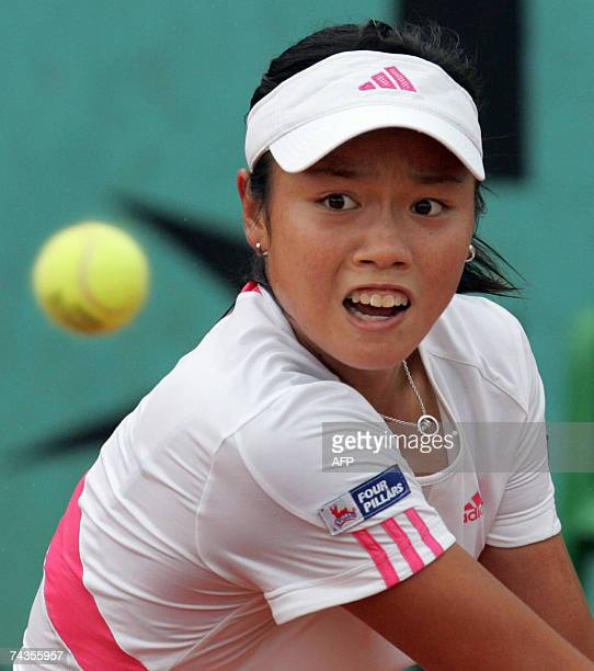 China Taipei player YungJan Chan hits a backhand shot to Russian player Elena Likhovtseva during their French Tennis Open first round match at Roland...