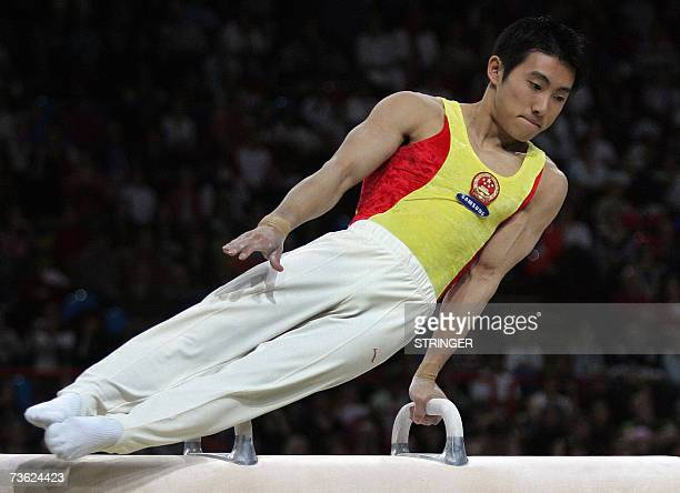 Chinese Haibin Teng olympic champion performs in the pommel horse and wins the final of the 16th edition of France's international gymnastics...