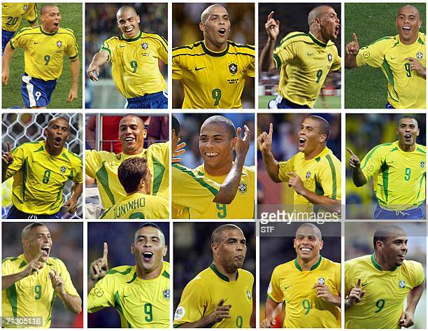 Combo created 27 June 2006 of the 15 celebrations of the international Brazilian forward Ronaldo Brazil reacting after scoring during three World Cup...