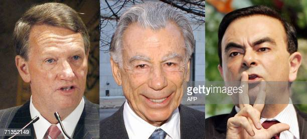 Combo of pictures of Richard Wagoner Chairman and Chief Executive Officer of General Motors Corporation Billionaire investor Kirk Kerkorian and...