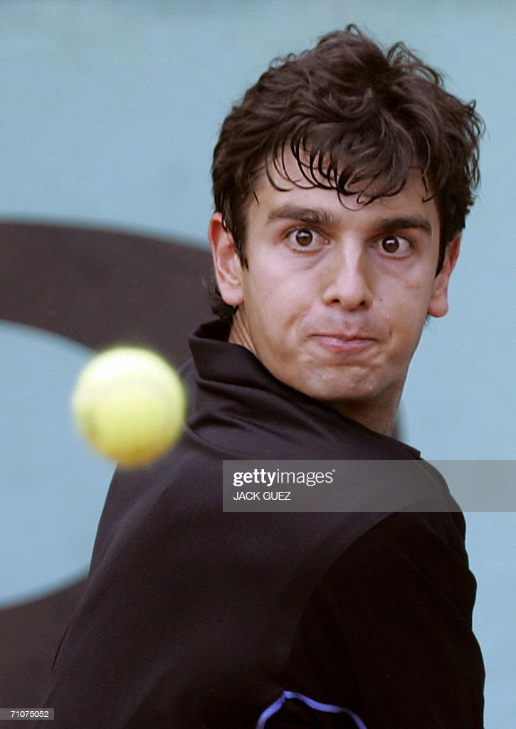 Croatian Mario Ancic hits a return to Australian Nathan Healey during the first round of the French Tennis Open at Roland Garros in Paris 29 May 2006.