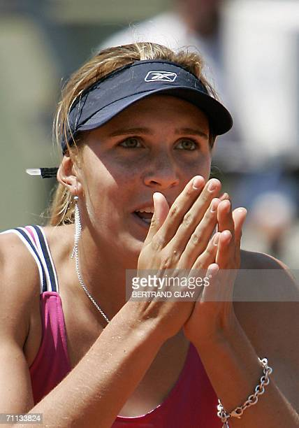 Czech Nicole Vaidisova jubilates after winning against US Venus Williams during the quarter-finals of the French tennis Open at Roland Garros in...