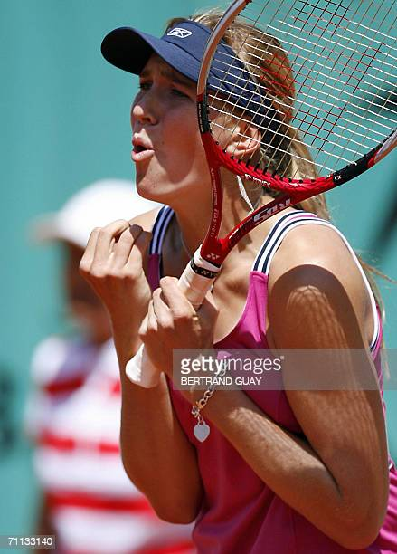 Czech Nicole Vaidisova reacts during her match against US Venus Williams during the quarter-finals of the French tennis Open at Roland Garros in...