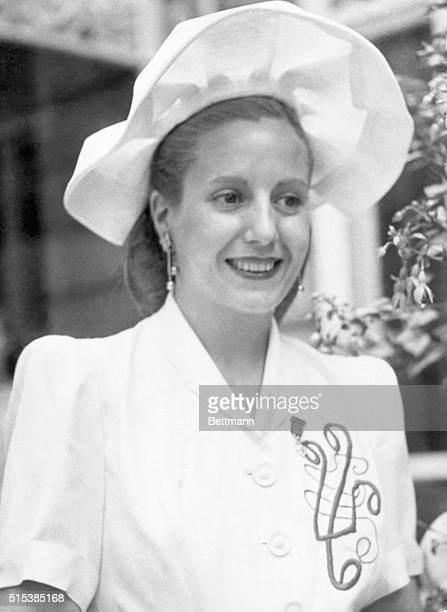 Paris, France: Eva Peron, wife of Argentine dictator. Photo shows her in her happier days when she visited Paris in the summer of 1947.