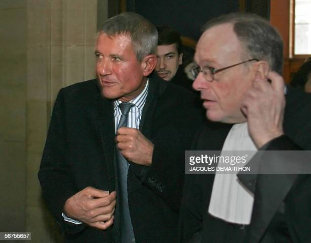 Former CEO of French Defence firm Thomson Alain Gomez arrives his lawyer Olivier Metzner at Paris Tribunal for the judgment 06 February 2006 Thomson...