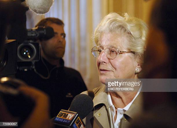 Former resistant member and witness Colette Noll answers journalists' questions as she arrives 05 October 2006 in Paris at the French Court of...