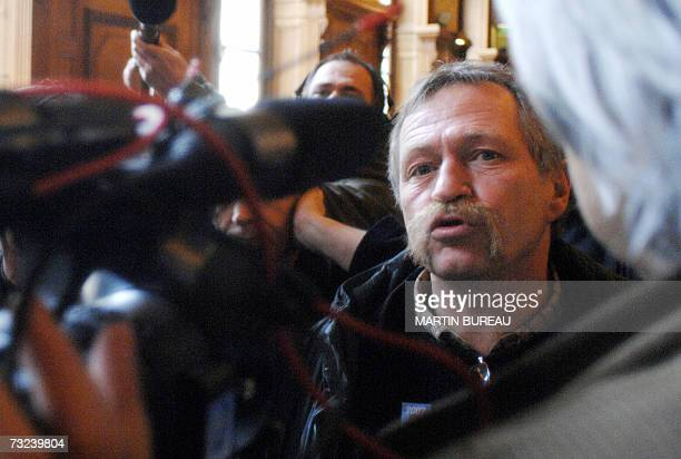 France's iconic farmer-activist and presidential candidate for the anti-capitalist far left Jose Bove speaks to the press in Cassation court in...