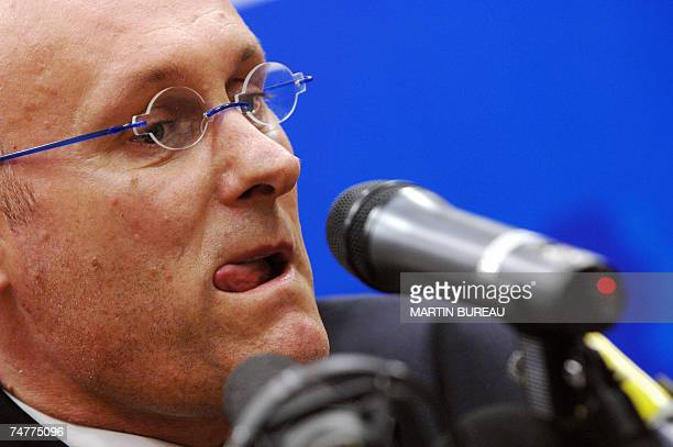 France's rugby team French coach Bernard Laporte answers journalists questions during a press conference 19 June 2007 in Paris Laporte who was on...