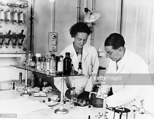 Frederick Joliot and his wife Irene Curie Physicists who shared the Nobel Prize in 1935 Photograph in their laboratory Undated photograph