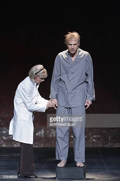 French actors Eleonor Hirt and Pascal Omhovere perform a scene of Irish writer Samuel Beckett's play Catastrophe directed by Michael Lonsdale 02...
