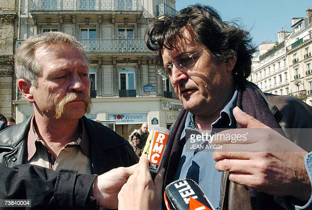 French alter-globalisation candidate for the upcoming 2007 presidential election Jose Bove and Bernard Bolze, founder of the OIP give a press...