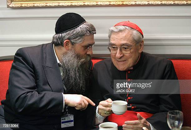 French Cardinal JeanMarie Lustiger chats with Ukraine Yaakov Dov Bleich before a session of the executive council of the World Jewish Congress 12...