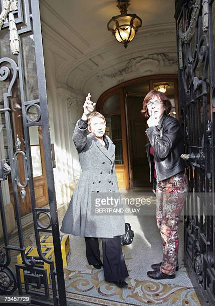 French employers' association Medef president Laurence Parisot is welcomed by Segolene's Royal press officer Agnes Longueville as she arrives to...