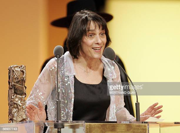 "French Juliette Welfling poses with the Best editing Award for ""De battre mon coeur s'est arrete"", 25 February 2006 on the Theatre du Chatelet in..."