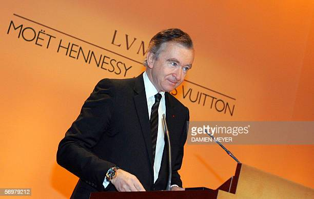 French luxury products group LVMH chairman and chief executive Bernard Arnault gives a speech during a press conference announcing the 2005 financial...