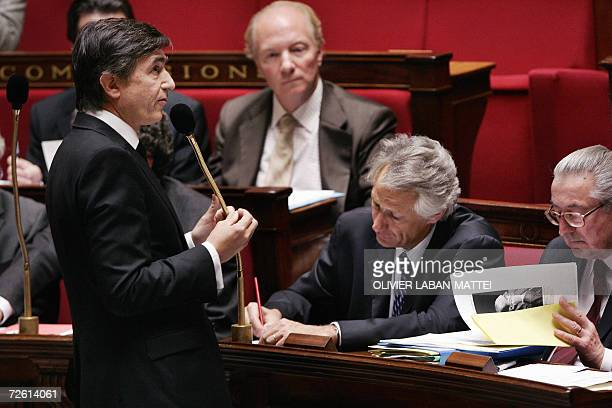 French Minister of Foreign Affairs Philippe DousteBlazy speaks during the weekly session of the questions to the government 21 November 2006 at the...