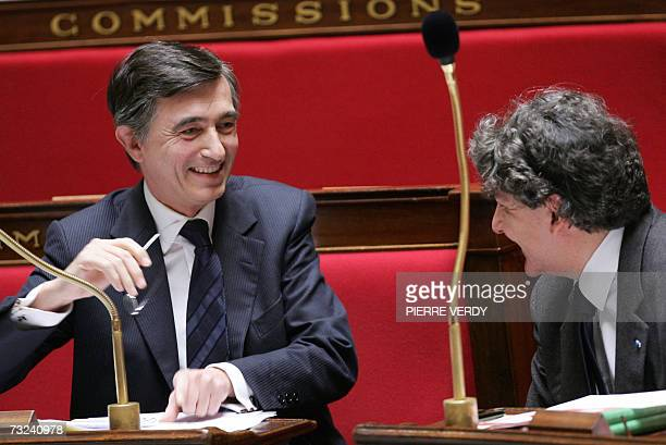 French Minister of Foreign Affairs Philippe DousteBlazy speaks with French Minister of Economy Thierry Breton at the French national Assembly in...