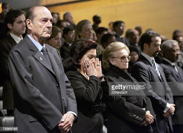 French president Jacques Chirac his wife Bernadette and Rafik Hariri's widow Nazek Hariri attend 19 February 2007 at the Arabic World Institut in...