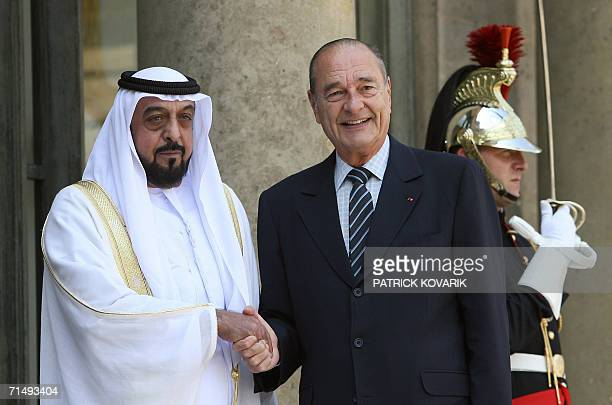 French president Jacques Chirac welcomes the President of the United Arab Emirates Khalifa bin Zayid alNuhayyan 21 July 2006 at the Elysee Palace in...