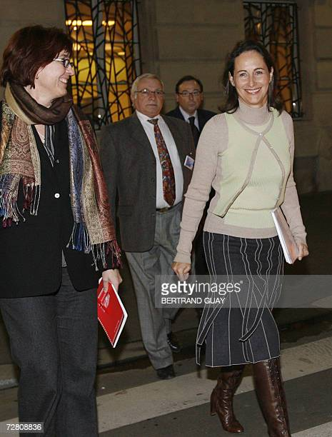 French socialist candidate in next year's presidential election Segolene Royal is on her way for a press conference next to her press attache Agnes...