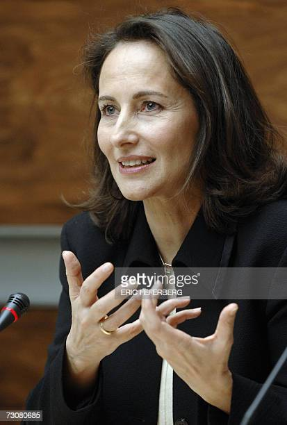French Socialist presidential candidate Segolene Royal gives a speech during a joint press conference with Deputy Christiane Taubira 23 January 2007...