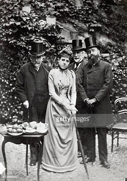 From left to right Edgar Degas Madame Strauss Cave and Leon Gauderax at the Bibliotheque Nationale Paris Undated photograph