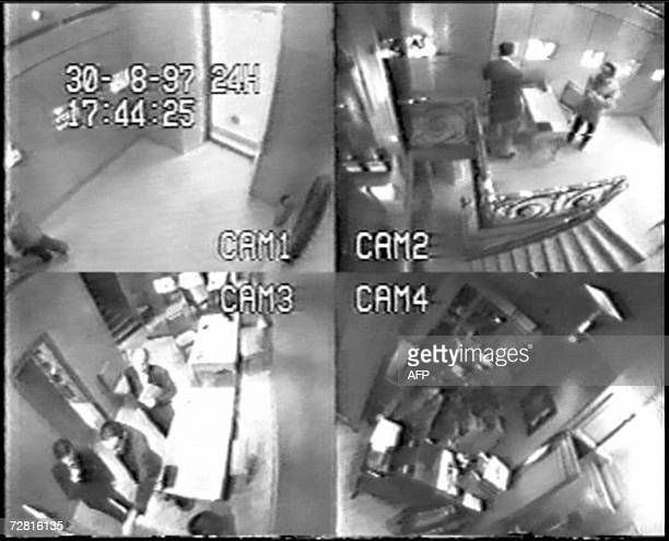 Grab of views from surveillance cameras at French jeweller Repossi place vendome in Paris dated 30 August 1997 showing according to the jeweller on...